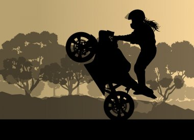 Motorcycle performance extreme stunt driver woman vector backgro
