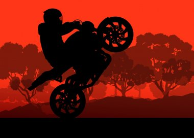 Motorcycle performance extreme stunt driver man vector backgroun