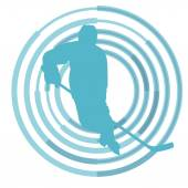 Ice hockey player in winter vector background
