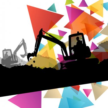 Construction site excavators and diggers with tractors and bulld