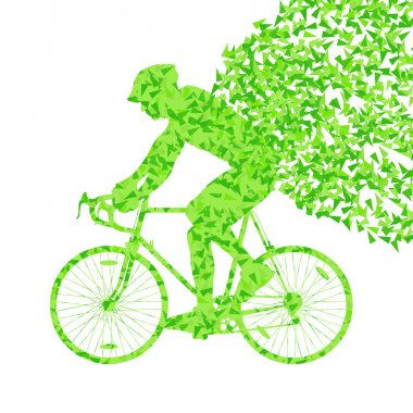 Cyclists rider winner vector background concept made of fragment