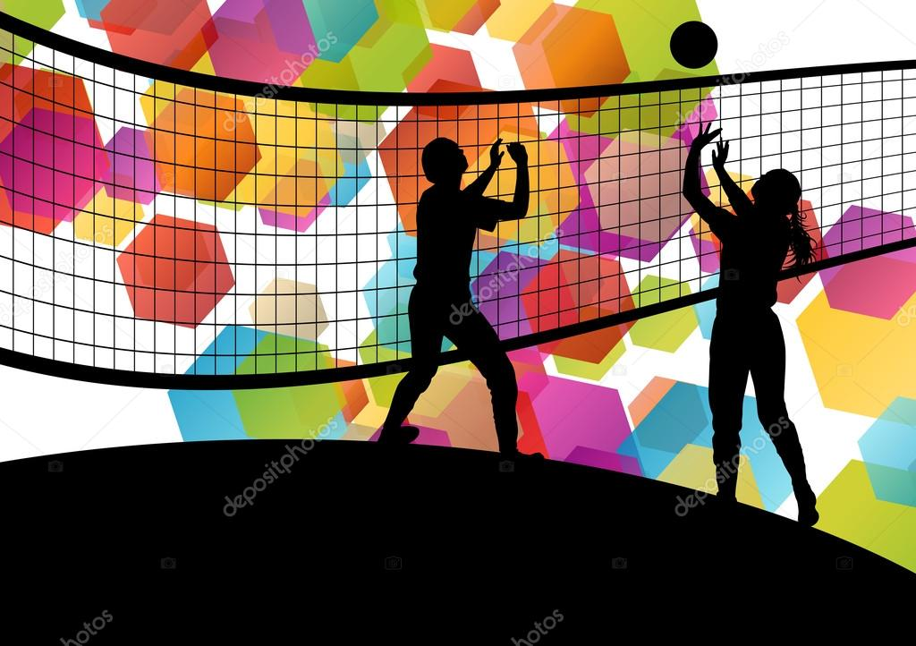 Illustration Abstract Volleyball Player Silhouette: Imágenes: Abstractas De Deportes