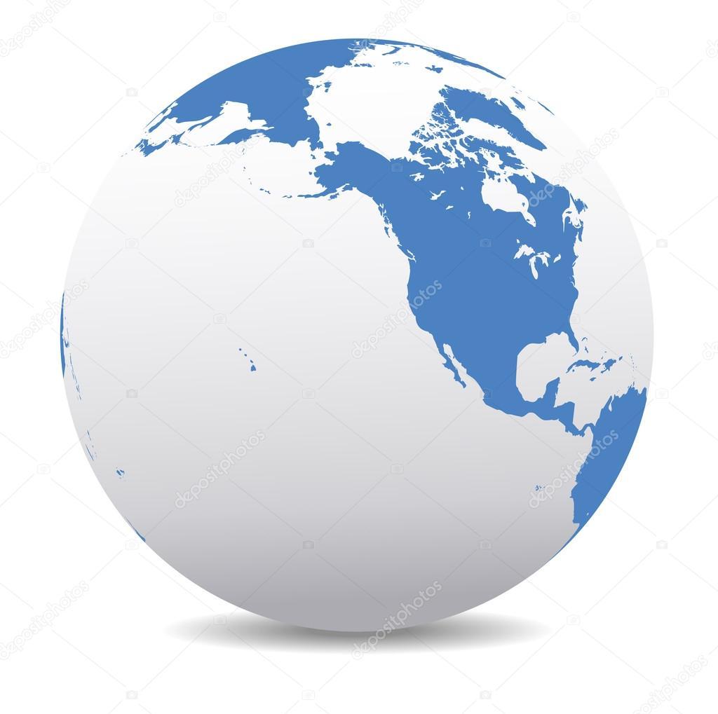 North America, Canada, Siberia and Hawaii Global World — Stock ...