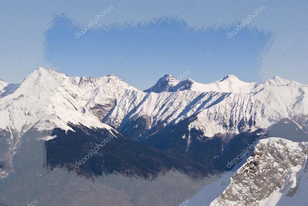 Marco de la helada de nieve y las montañas cubiertas de nieve — Foto ...