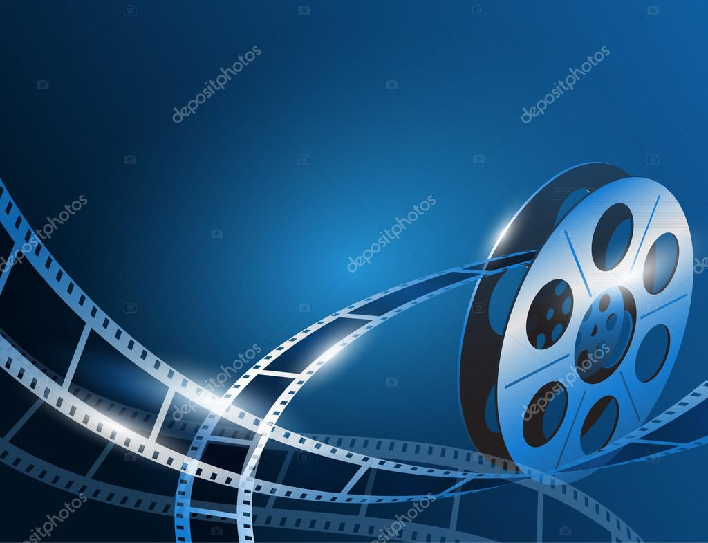 Vector illustration of a film stripe reel on shiny blue movie background stock vector