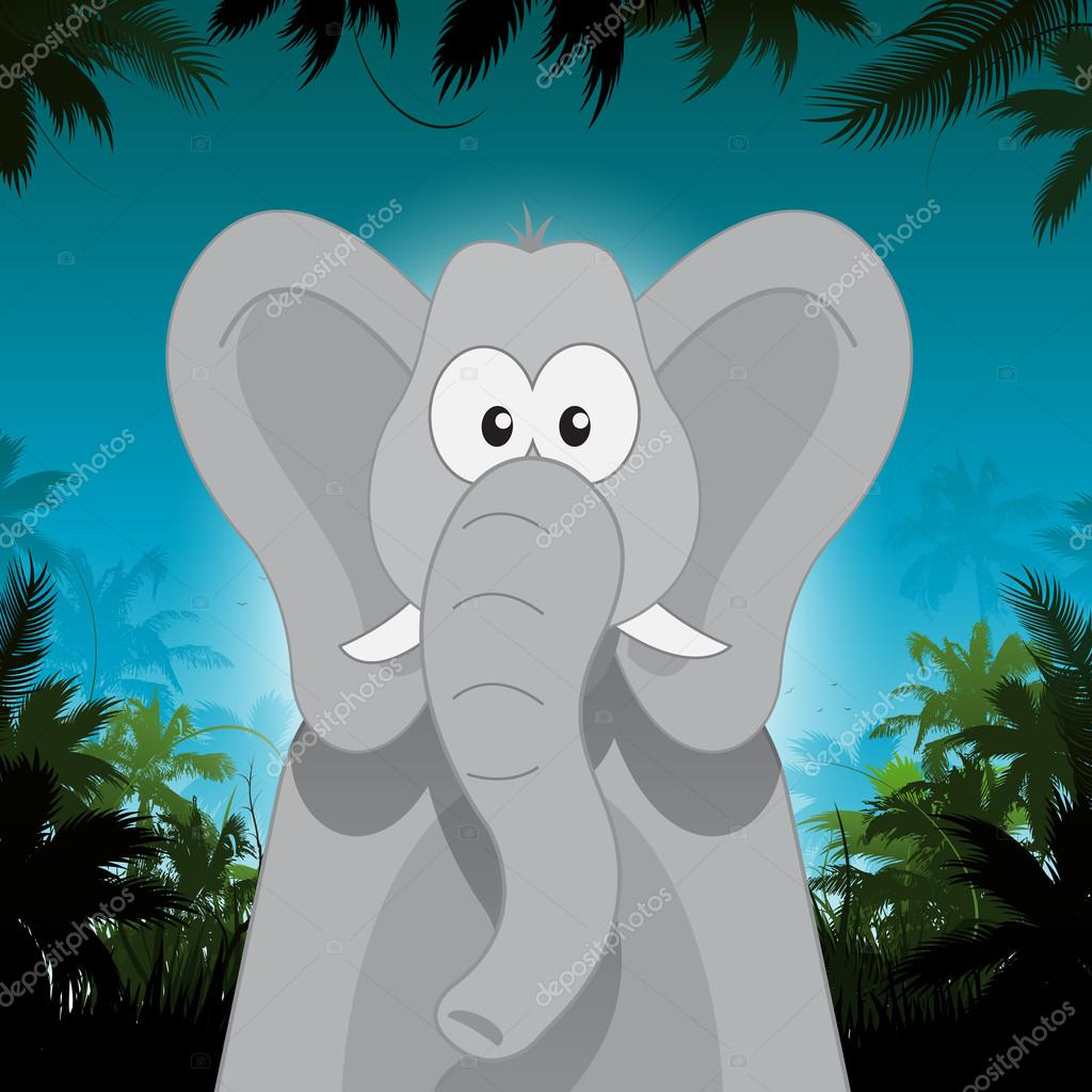 Cute cartoon elephant in front of jungle background