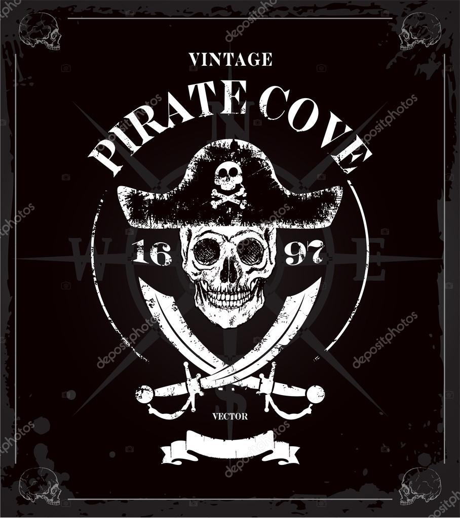 Fondo Piratas Vintage cráneo marco — Archivo Imágenes Vectoriales ...
