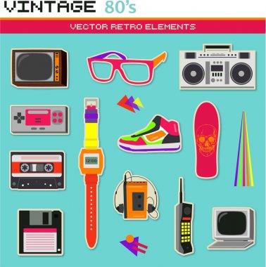 Vintage retro 80s vector elements