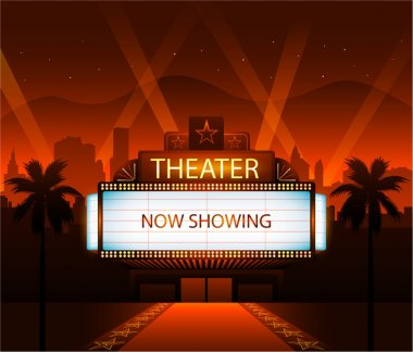 Now showing vector theater movie banner sign stock vector