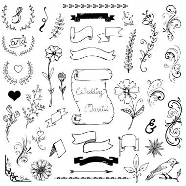 Hand Drawn Doodle Ampersands, Curves, Book Corners, Dividers Design Elements