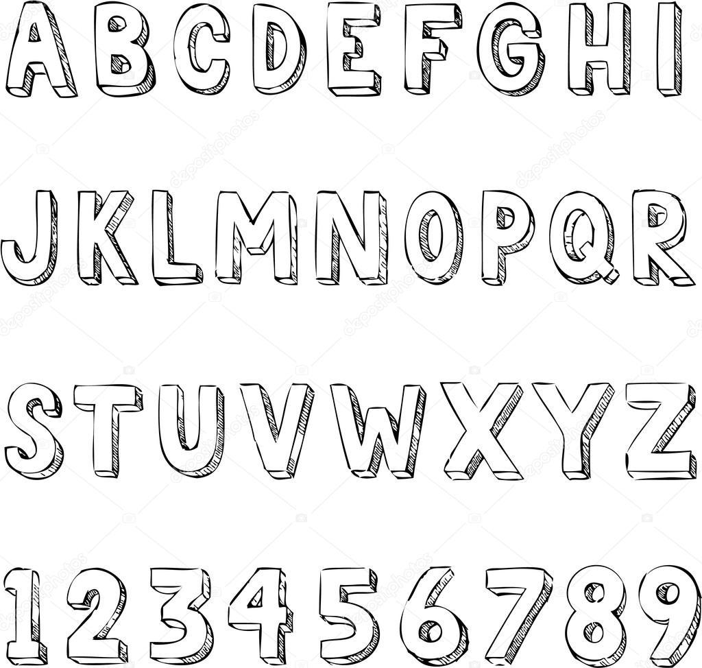 白地に描かれたおしゃれな文字アルファベット タイポグラフィを手します