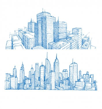 Hand drawn cityscapes and buildings