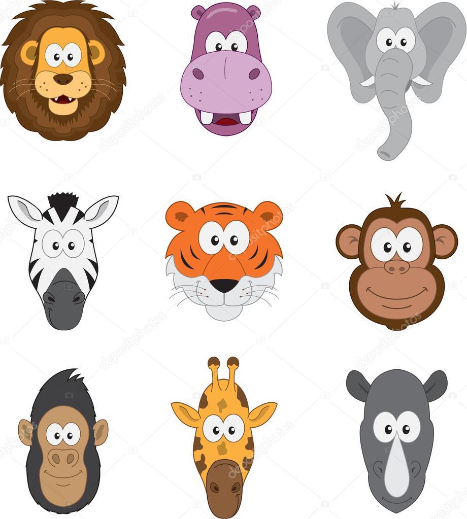 Cartoon jungle savannah animals faces