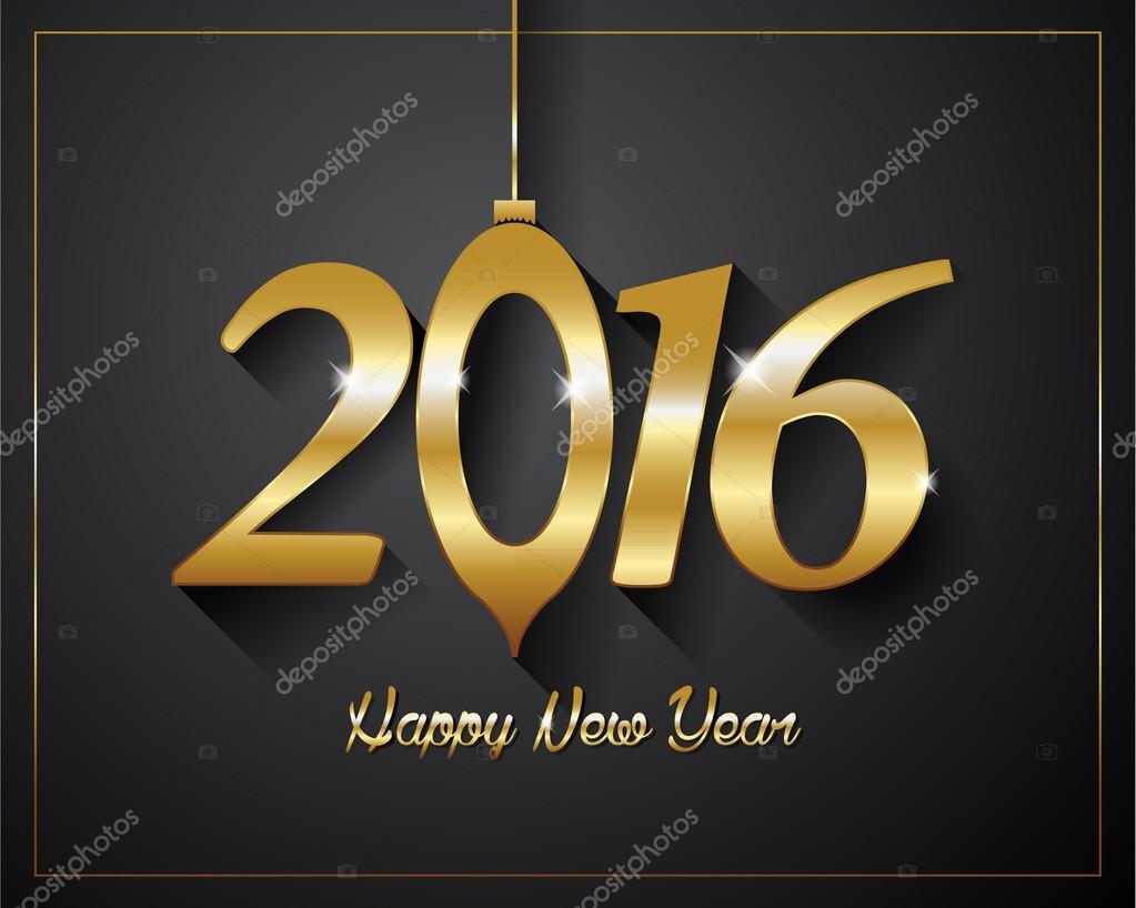 2016 happy new year golden letters flyers covers posters and pages black background