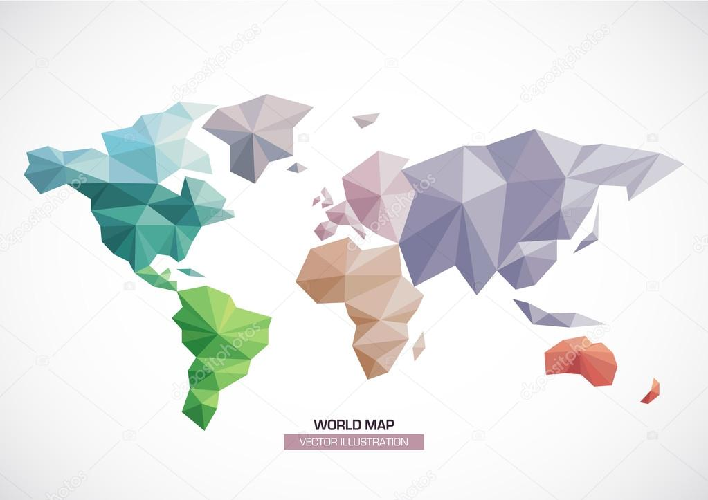 Vector world map design triangle pattern continents with different vector world map design triangle pattern continents with different colors stock vector gumiabroncs Image collections