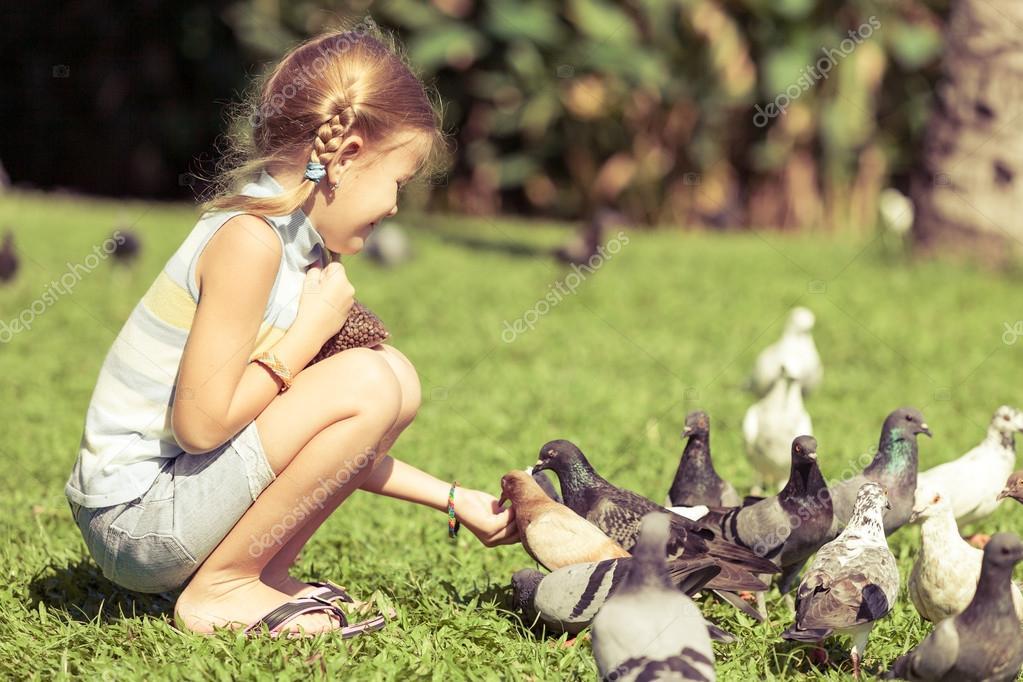 little girl feeding pigeons in the park