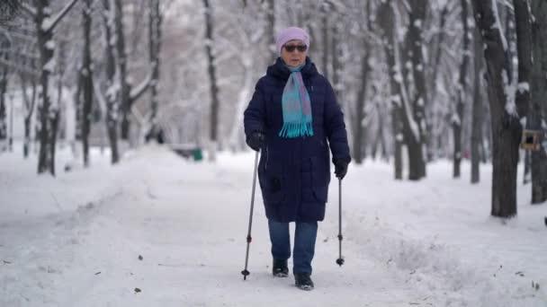 Aktive Seniorin trainiert Nordic Walking mit Trekkingstöcken. Ältere Frau übt im Winter im Freien Nordic Walking