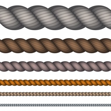 Vector modern rope set on white background.