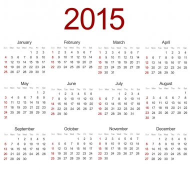 Vector modern 2015 calendar on white