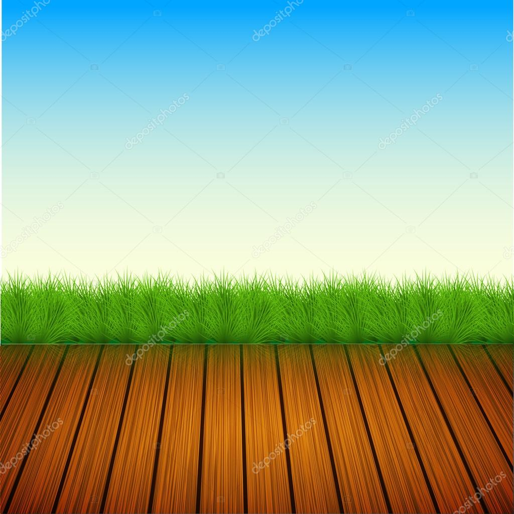 Vector wooden floor with grass, sky