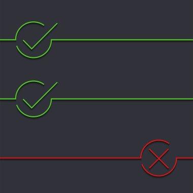 Vector modern green check mark on black