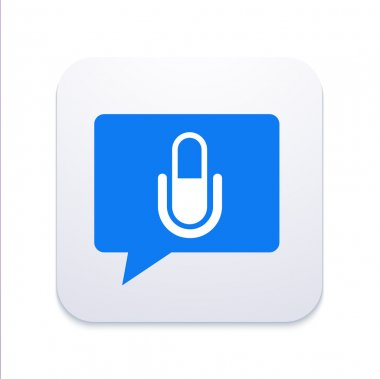 Vector modern microphone icon in  bubble speech