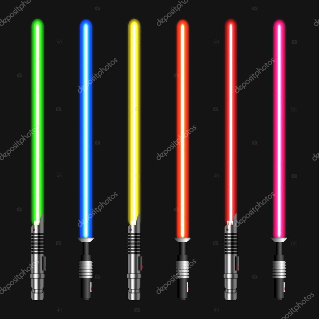 espadas de luz modernos vector sobre fondo oscuro u vector de stock
