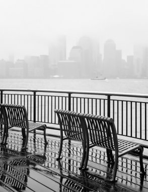 New York City skyline on a rainy day