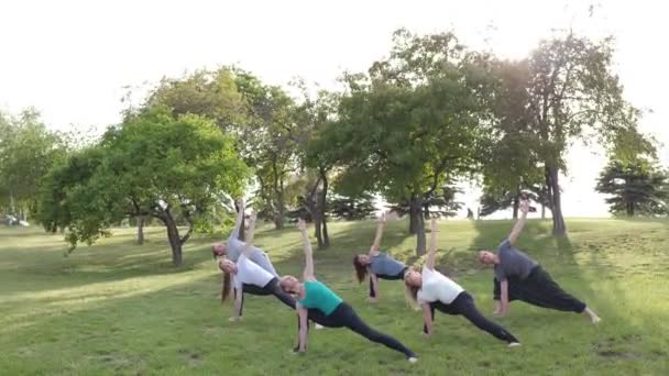 A group of people do yoga in the Park at sunset. Healthy lifestyle, meditation and Wellness