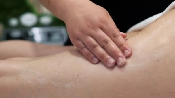 Young girl having massage of body in the spa salon. Beauty treatment concept