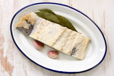 Salted cod with bay leaf