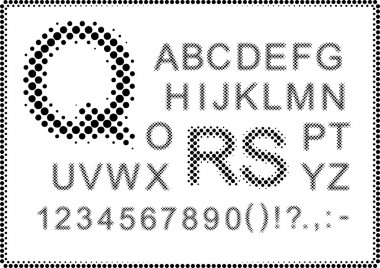 Roman alphabet. Simulated images of letters and numbers through the raster grid