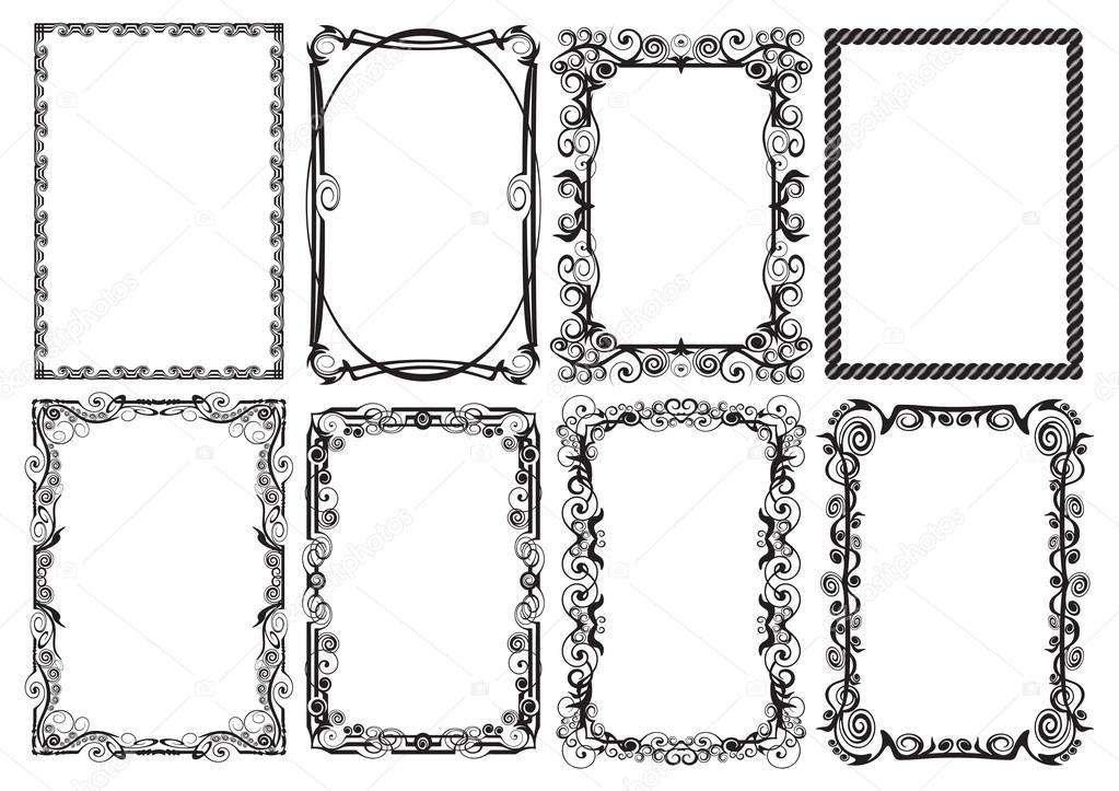 Marcos decorativos para el diseño de páginas impresas — Archivo ...