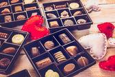 Photo close up view of Chocolate box