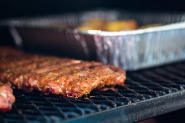 Meat prepared in barbecue