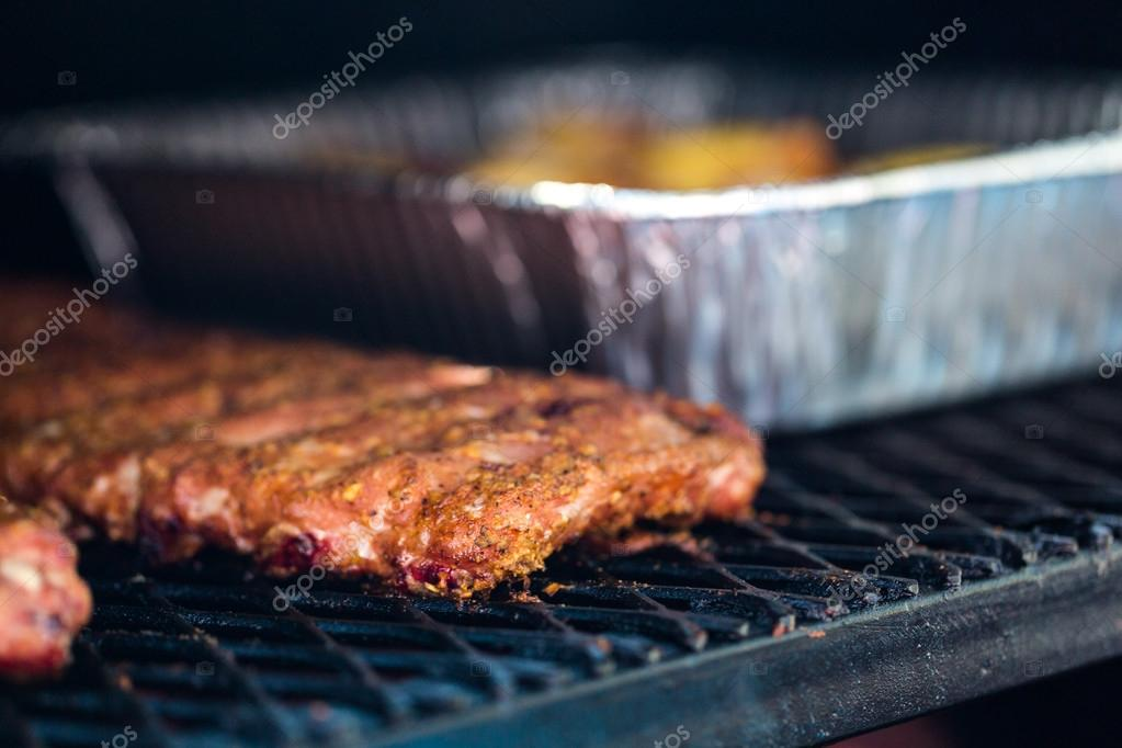 Meat prepared in barbecue