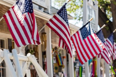 American flags at Main street