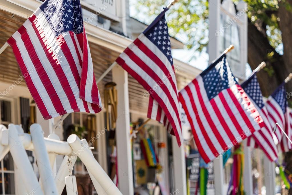 American flags at Main street