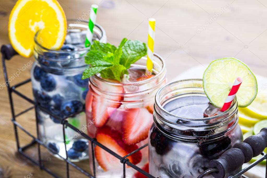 Infused water with fresh berries.
