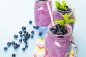 Fresh organic blueberry smoothies