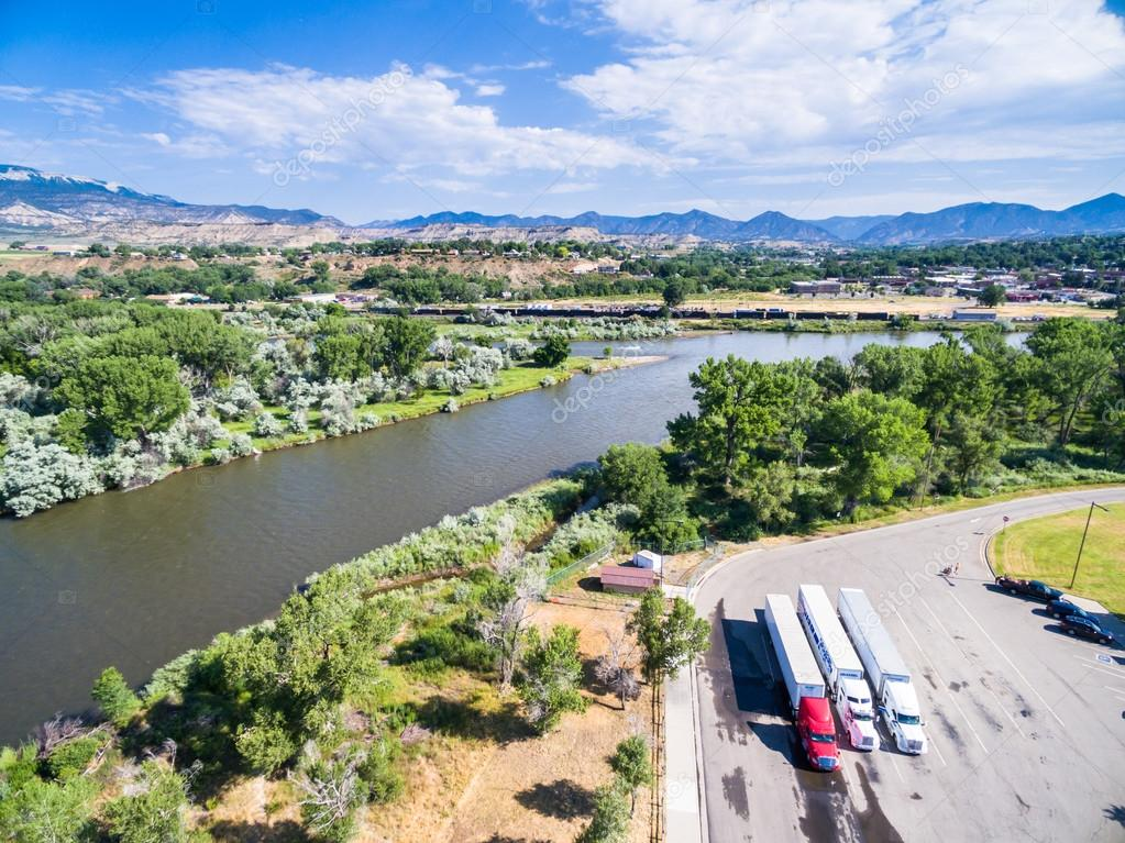 Aerial view of rest area near Colorado River