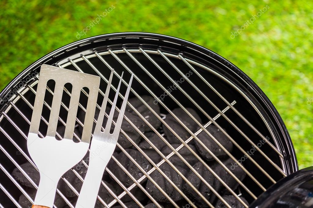 Small Round Charcoal Grill Stock Photo