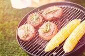 Summer picnic with corns and burgers