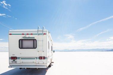 Driving motorhome on Bonneville Salt Flats