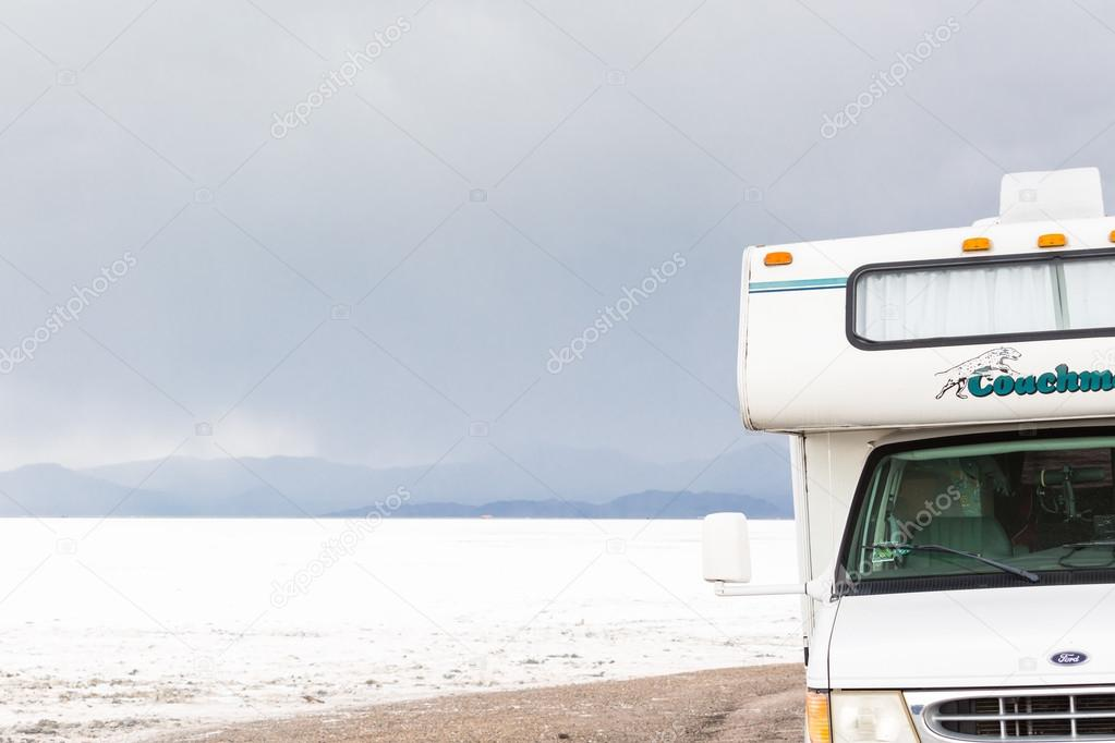 Motorhome traveling to Bonneville Salt Flats