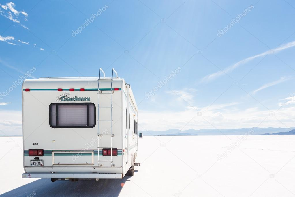 Driving motorhome on Bonneville Salt Flats