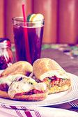 Meatball sandwich on the plate