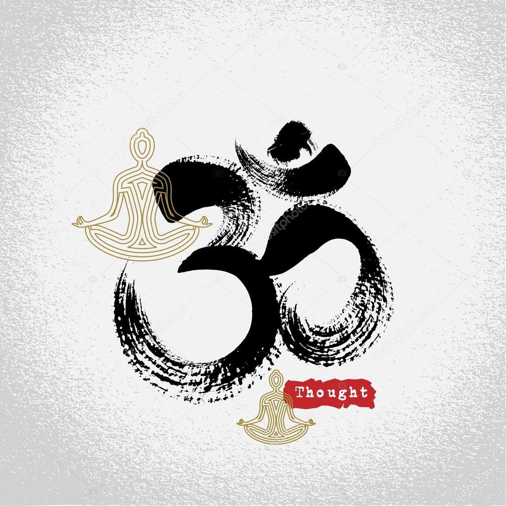 Vector Yoga Crown Chakras Symbols With Brushwork Style Ang