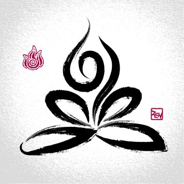 Yoga lotus pose and fire element symbol with oriental brushwork