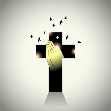 Vector: Two hands with prayer in cross and pigeons flying